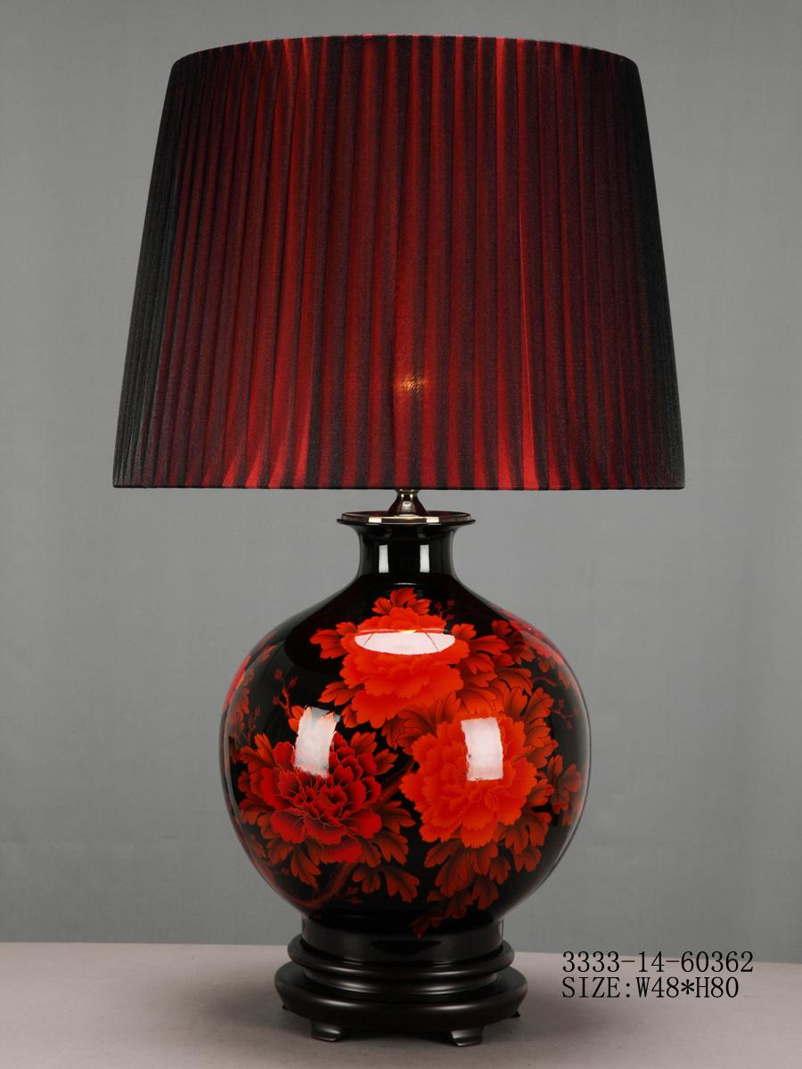 Chinese Porcelain Table Lamp Black With Red Flowers Fine Asian Lamps