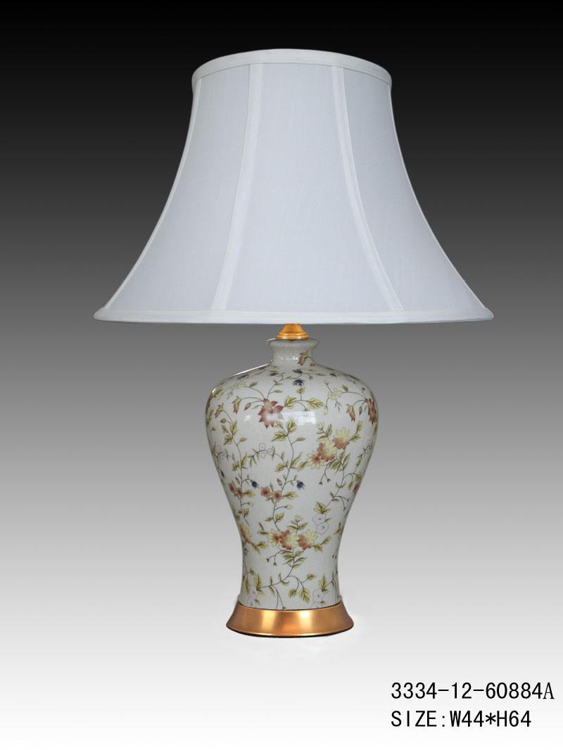 Chinese Porcelain Table Lamp White With Flower Pattern Fine Asian Lamps