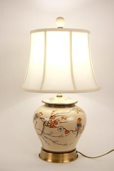 Chinese Porcelain Table Lamp Handpainted Ginger-pot Style Cream