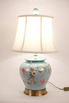 Chinese Porcelain Table Lamp Handpainted Ginger-pot Style Turquoise