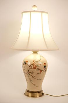 Chinese Porcelain Table Lamp Handpainted Cream
