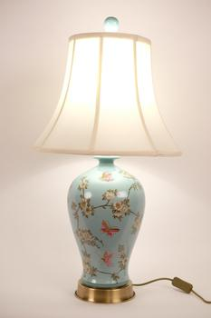 Chinese Porcelain Table Lamp Handpainted Turquoise