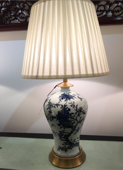 Chinese Porcelain Lamp White With Blue Flower Branches