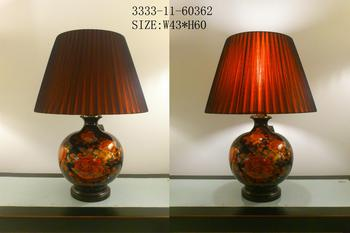Chinese Porcelain Table Lamp Black with Red Flowers Large