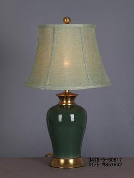 Chinese Porcelain Table Lamp Dark Green