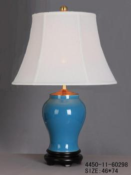Chinese Porcelain Table Lamp Glassy Blue