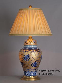 Chinese Porcelain Table Lamp Gold with Blue Pattern