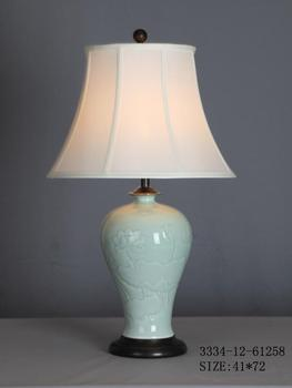 Chinese Porcelain Table Lamp Mint Lotus