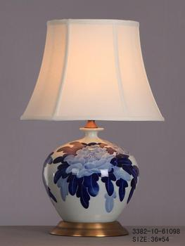 Chinese Porcelain Table Lamp White With Blue Flowers