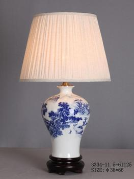 Chinese Porcelain Table Lamp White With Blue Landscape
