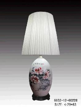 Chinese Porcelain Table Lamp White with Flower and Landscape